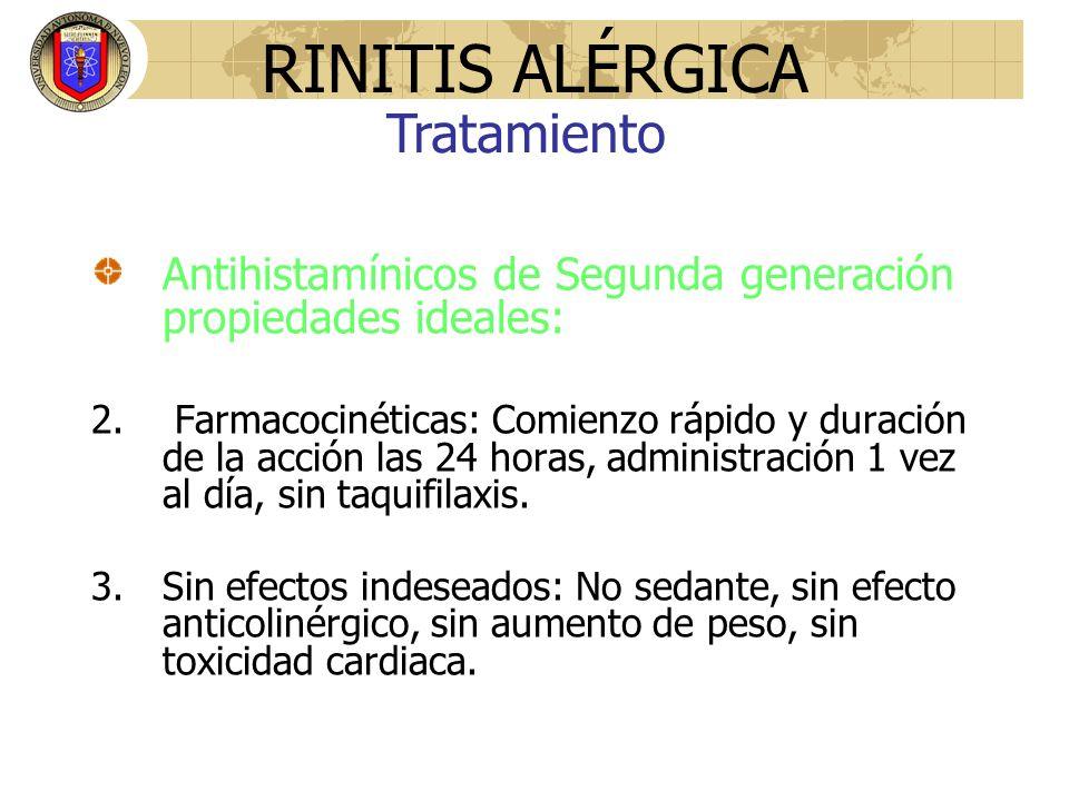 Antihistamínicos de Segunda generación propiedades ideales: 2. Farmacocinéticas: Comienzo rápido y duración de la acción las 24 horas, administración