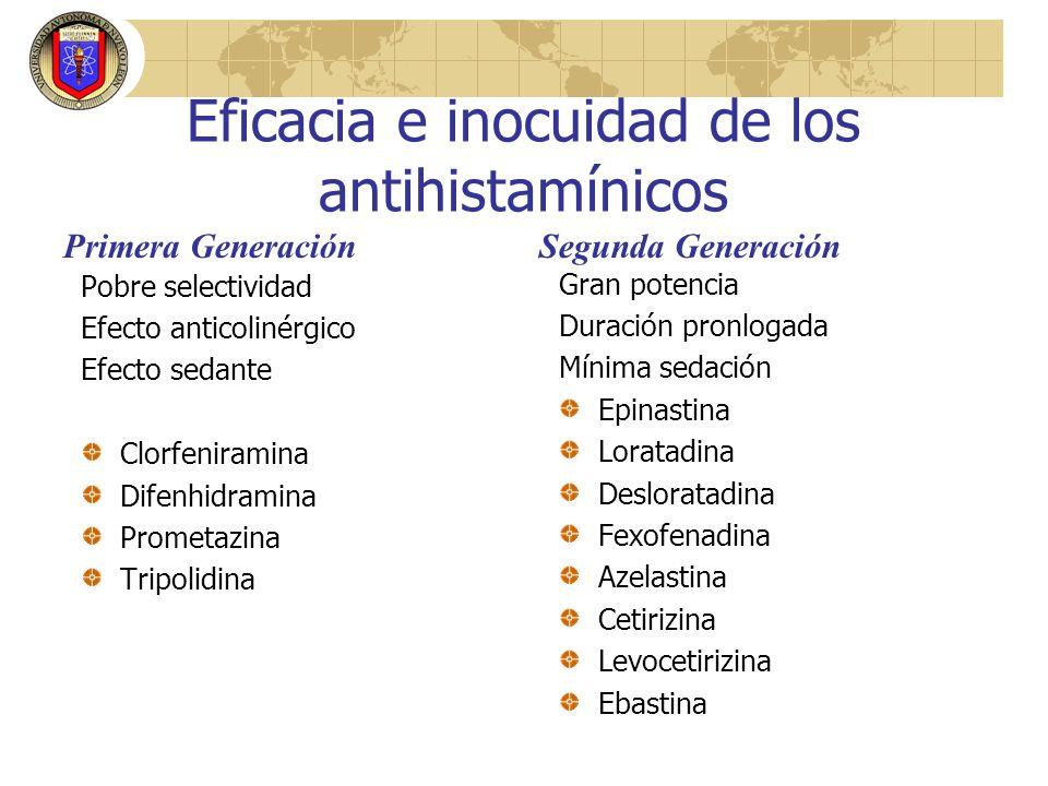 Eficacia e inocuidad de los antihistamínicos Pobre selectividad Efecto anticolinérgico Efecto sedante Clorfeniramina Difenhidramina Prometazina Tripol