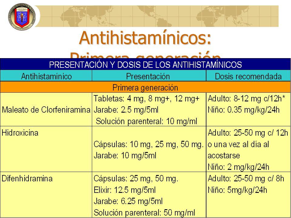 Antihistamínicos: Primera generación