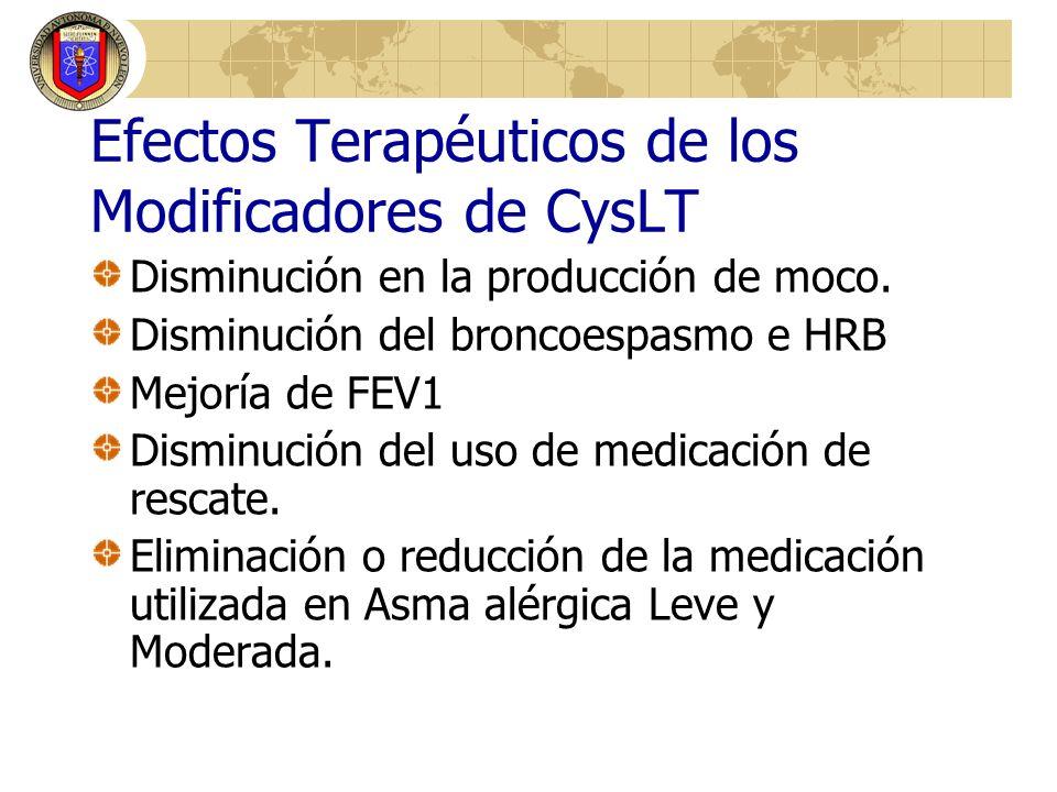 Efectos Terapéuticos de los Modificadores de CysLT Disminución en la producción de moco. Disminución del broncoespasmo e HRB Mejoría de FEV1 Disminuci
