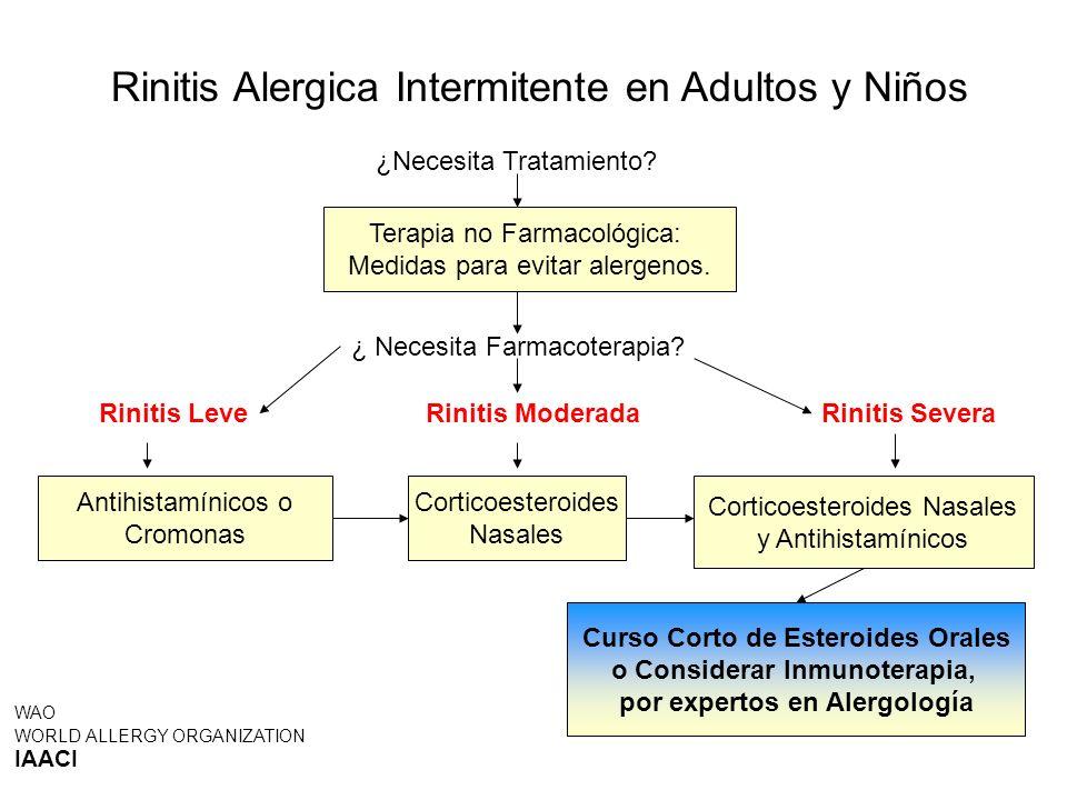 Rinitis Alergica Intermitente en Adultos y Niños Curso Corto de Esteroides Orales o Considerar Inmunoterapia, por expertos en Alergología WAO WORLD AL
