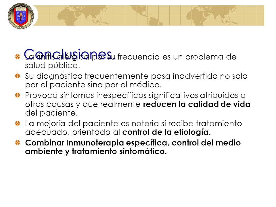 Conclusiones. La rinitis alérgica por su frecuencia es un problema de salud pública. Su diagnóstico frecuentemente pasa inadvertido no solo por el pac