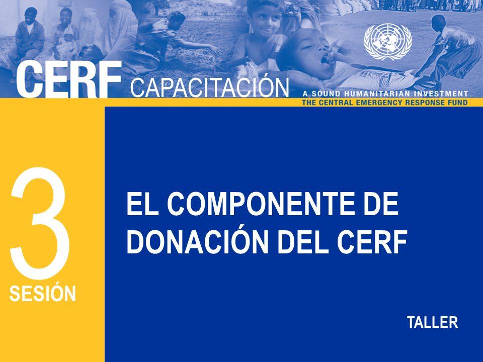 CAPACITACIÓN DEL CERF CAPACITACIÓN EL COMPONENTE DE DONACIÓN DEL CERF 3 SESIÓN TALLER
