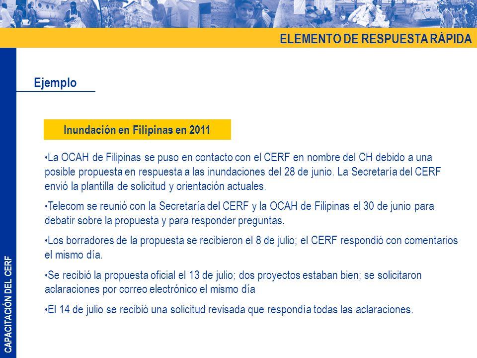 CAPACITACIÓN DEL CERF CAPACITACIÓN ELEMENTO PARA EMERGENCIAS CON FINANCIACIÓN INSUFICIENTE TALLER