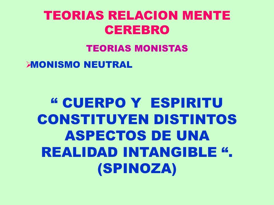TEORIAS RELACION MENTE CEREBRO TEORIAS MONISTAS MONISMO NEUTRAL CUERPO Y ESPIRITU CONSTITUYEN DISTINTOS ASPECTOS DE UNA REALIDAD INTANGIBLE. (SPINOZA)