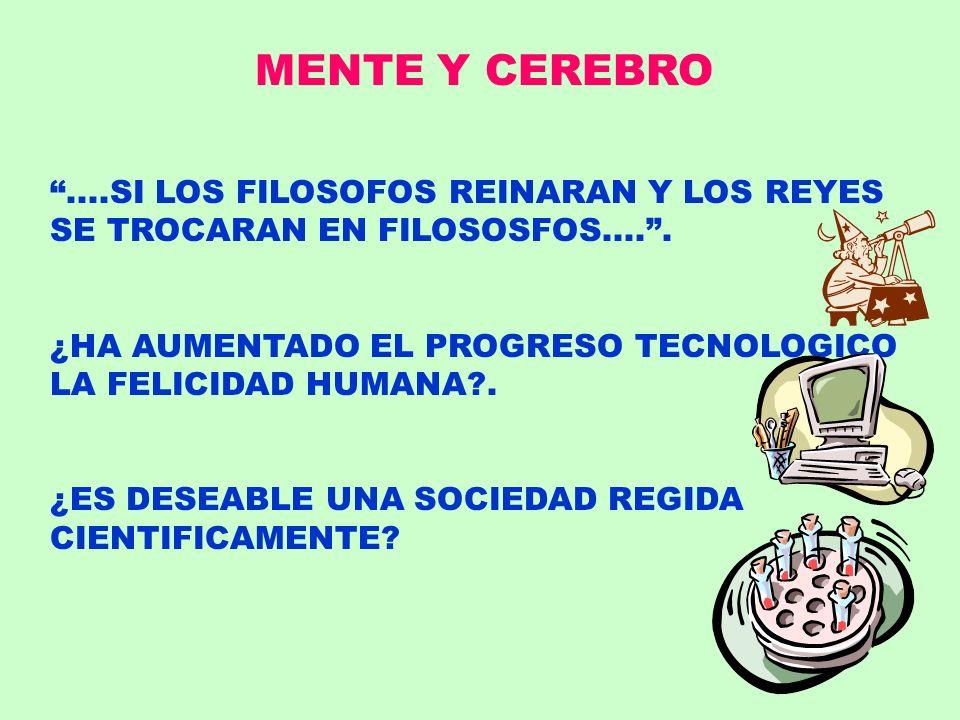 MENTE Y CEREBRO....SI LOS FILOSOFOS REINARAN Y LOS REYES SE TROCARAN EN FILOSOSFOS..... ¿HA AUMENTADO EL PROGRESO TECNOLOGICO LA FELICIDAD HUMANA?. ¿E
