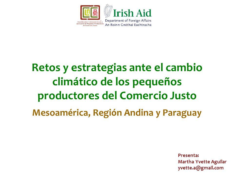 Retos y estrategias ante el cambio climático de los pequeños productores del Comercio Justo Presenta: Martha Yvette Aguilar yvette.a@gmail.com Mesoamé