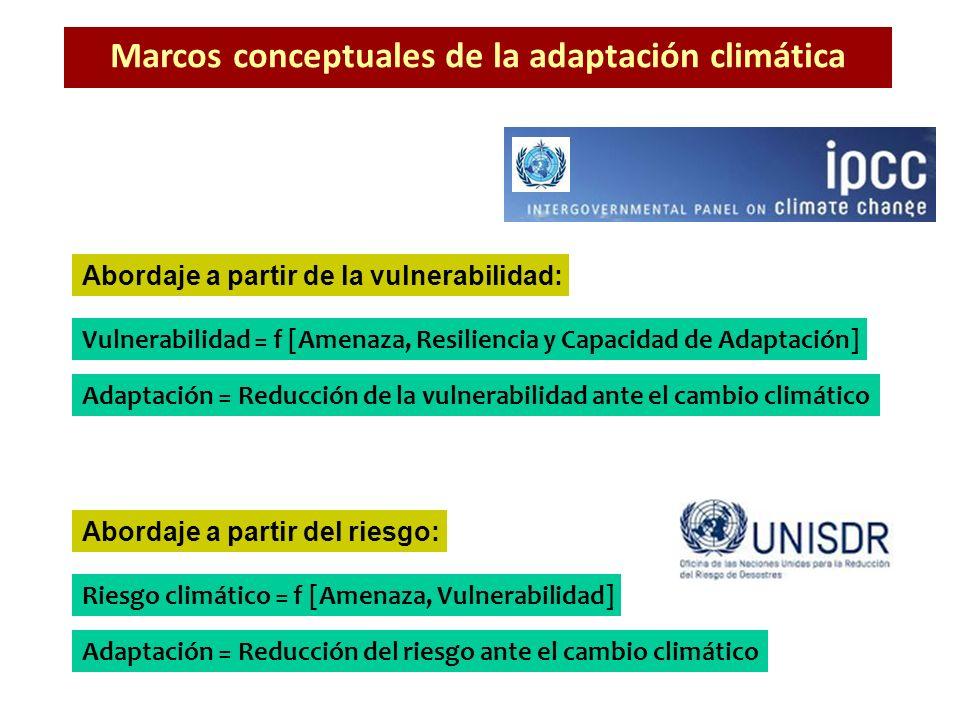 Riesgo climático = f [Amenaza, Vulnerabilidad] Vulnerabilidad = f [Amenaza, Resiliencia y Capacidad de Adaptación] Abordaje a partir de la vulnerabili
