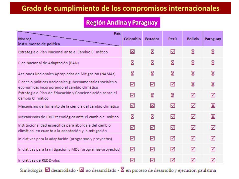 Grado de cumplimiento de los compromisos internacionales Región Andina y Paraguay