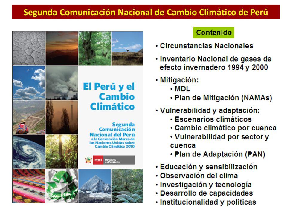 Segunda Comunicación Nacional de Cambio Climático de Perú Contenido