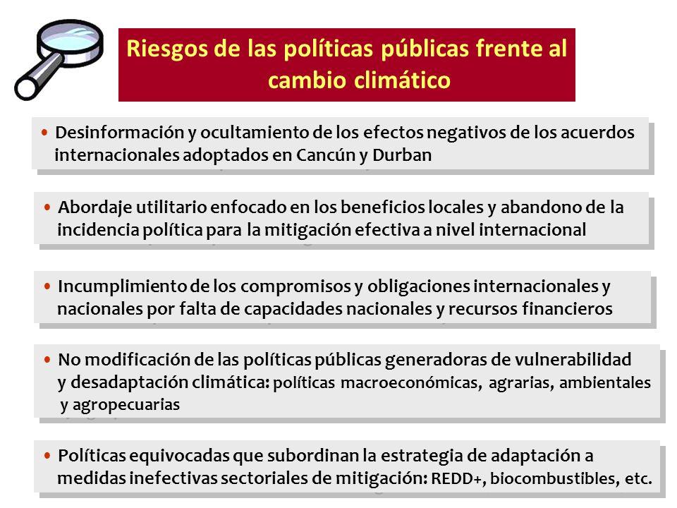 Riesgos de las políticas públicas frente al cambio climático Incumplimiento de los compromisos y obligaciones internacionales y nacionales por falta d