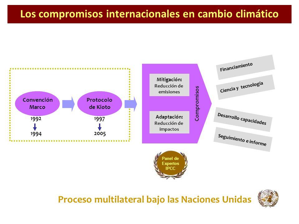 Los compromisos internacionales en cambio climático Proceso multilateral bajo las Naciones Unidas 19921997 19942005 Convención Marco Protocolo de Kiot