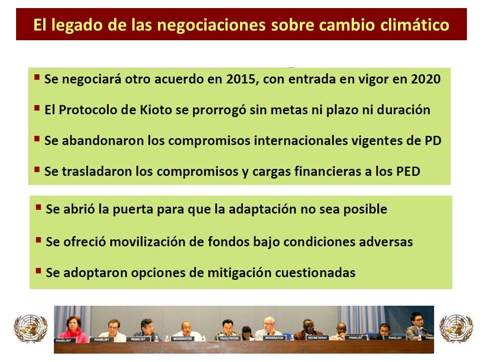 Opciones de uso de la tierra en los países desarrollados (altamente cuestionadas) Comercio de emisiones de carbono entre países desarrollados y MDL (PD + PED) Metas de reducción precarias e inefectivas para 2020 17%8% 25% 50% ++= Esquemas de uso de la tierra y cambio de uso de la tierra en los países en desarrollo Carbono azul Meta mundial de reducción de emisiones para 2020 con soluciones inefectivas 25% REDD-plus Países desarrollados HumedalesAgriculturaBosquesPastos marinos ArrecifesNuclear meta condicionada Biocombustibles