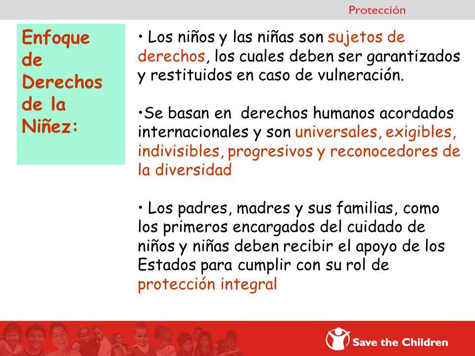 Enfoque de Derechos de la Niñez: Los niños y las niñas son sujetos de derechos, los cuales deben ser garantizados y restituidos en caso de vulneración