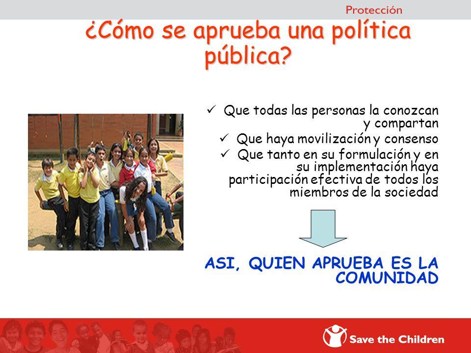 ¿Cómo se aprueba una política pública? Que todas las personas la conozcan y compartan Que haya movilización y consenso Que tanto en su formulación y e