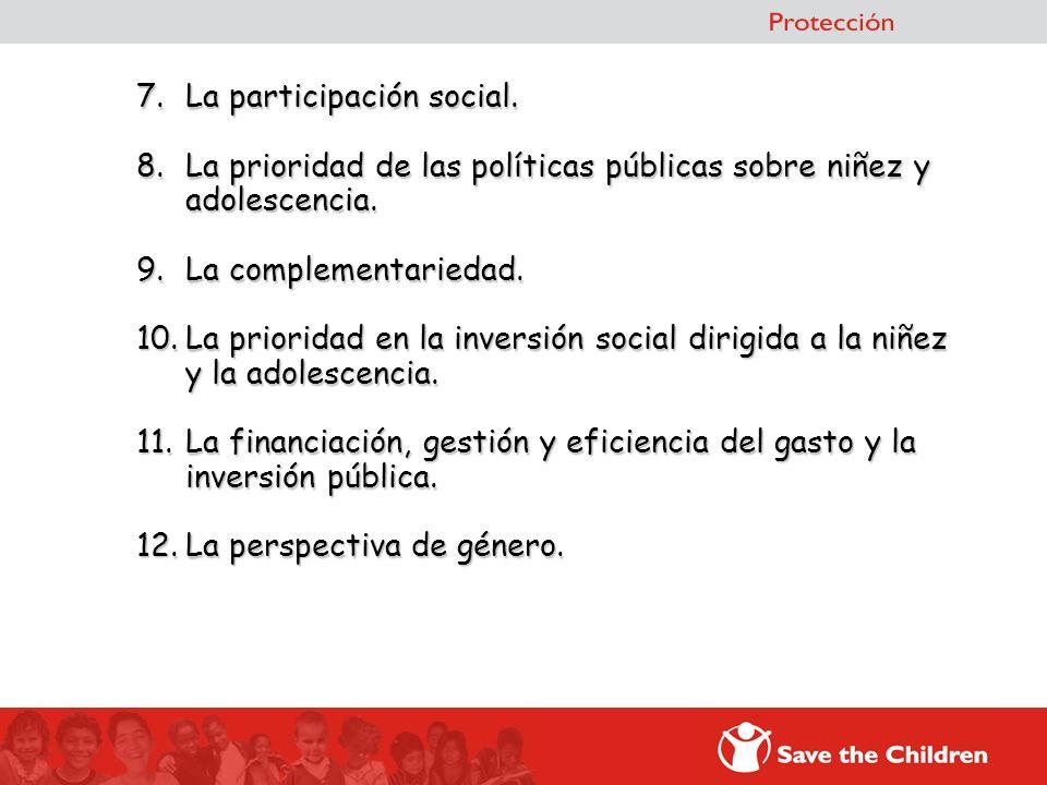 7.La participación social. 8.La prioridad de las políticas públicas sobre niñez y adolescencia. 9.La complementariedad. 10.La prioridad en la inversió