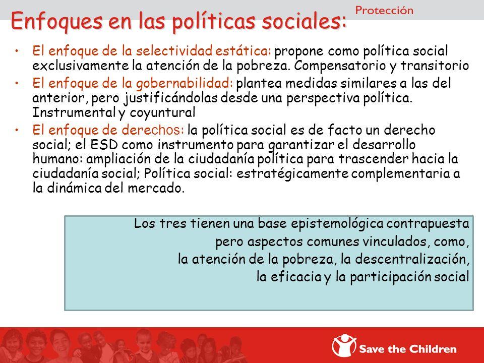 Enfoques en las políticas sociales: El enfoque de la selectividad estática: propone como política social exclusivamente la atención de la pobreza. Com
