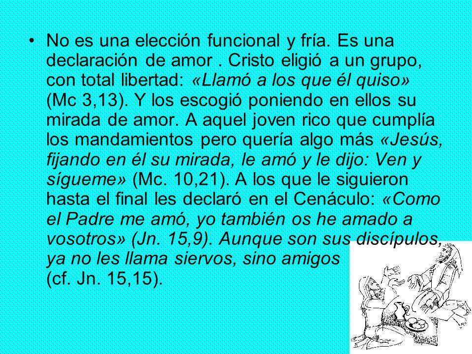 12 No es una elección funcional y fría. Es una declaración de amor. Cristo eligió a un grupo, con total libertad: «Llamó a los que él quiso» (Mc 3,13)