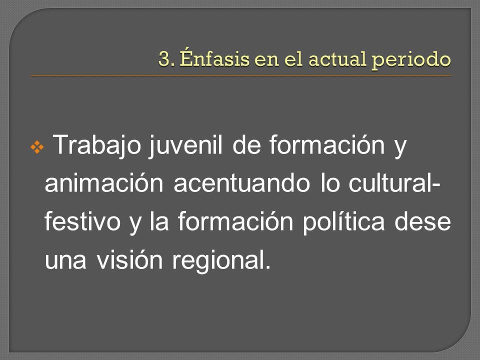 Trabajo juvenil de formación y animación acentuando lo cultural- festivo y la formación política dese una visión regional.