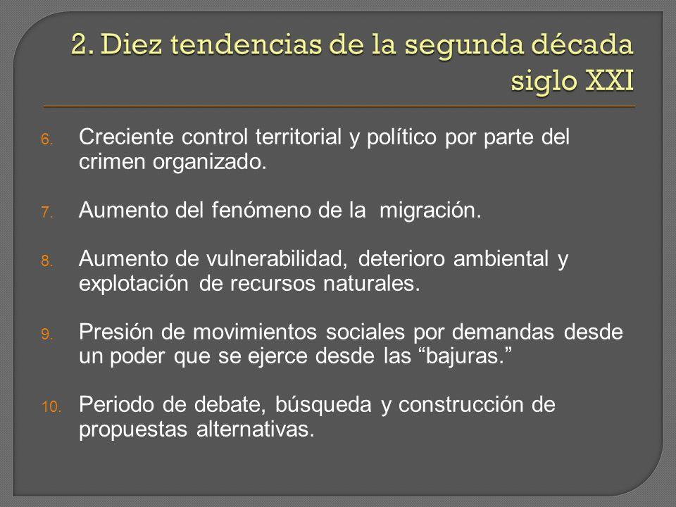6. Creciente control territorial y político por parte del crimen organizado.