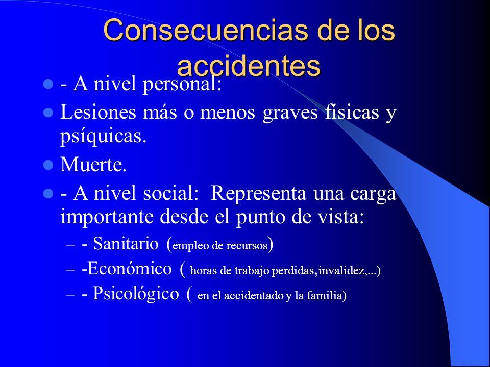 Consecuencias de los accidentes - A nivel personal: Lesiones más o menos graves físicas y psíquicas.