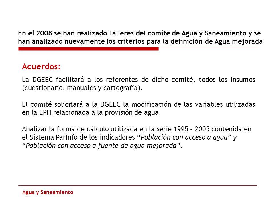 Modificaciones de Cuestionario A partir de la Encuesta de Hogares 2008 Agua y Saneamiento