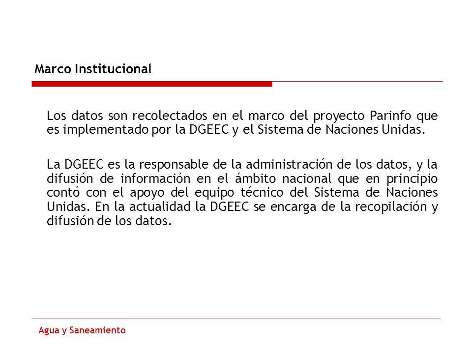 Marco Institucional Agua y Saneamiento Los datos son recolectados en el marco del proyecto Parinfo que es implementado por la DGEEC y el Sistema de Na