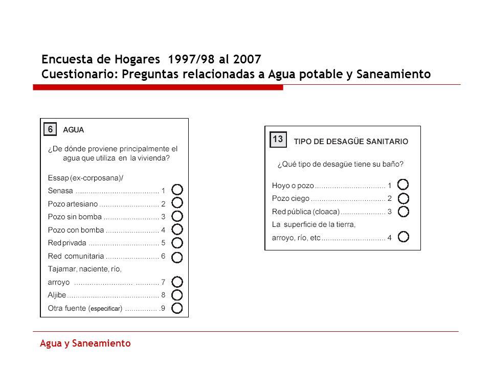 Encuesta de Hogares 1997/98 al 2007 Cuestionario: Preguntas relacionadas a Agua potable y Saneamiento Agua y Saneamiento