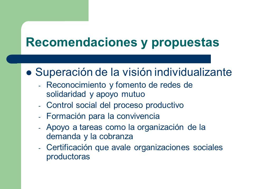 Recomendaciones y propuestas Simplificación administrativa (basada en la confianza) Amplio abanico de intervenciones (potenciar y facilitar la diversidad y la flexibilidad)