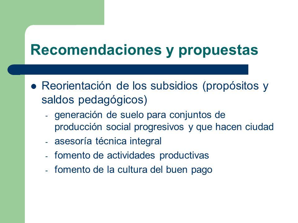 Recomendaciones y propuestas Reorientación de los subsidios (propósitos y saldos pedagógicos) - generación de suelo para conjuntos de producción social progresivos y que hacen ciudad - asesoría técnica integral - fomento de actividades productivas - fomento de la cultura del buen pago