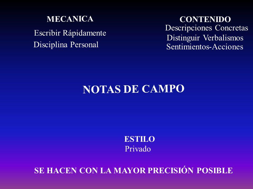 NOTAS DE CAMPO MECANICA CONTENIDO ESTILO Escribir Rápidamente Disciplina Personal Descripciones Concretas Distinguir Verbalismos Privado SE HACEN CON