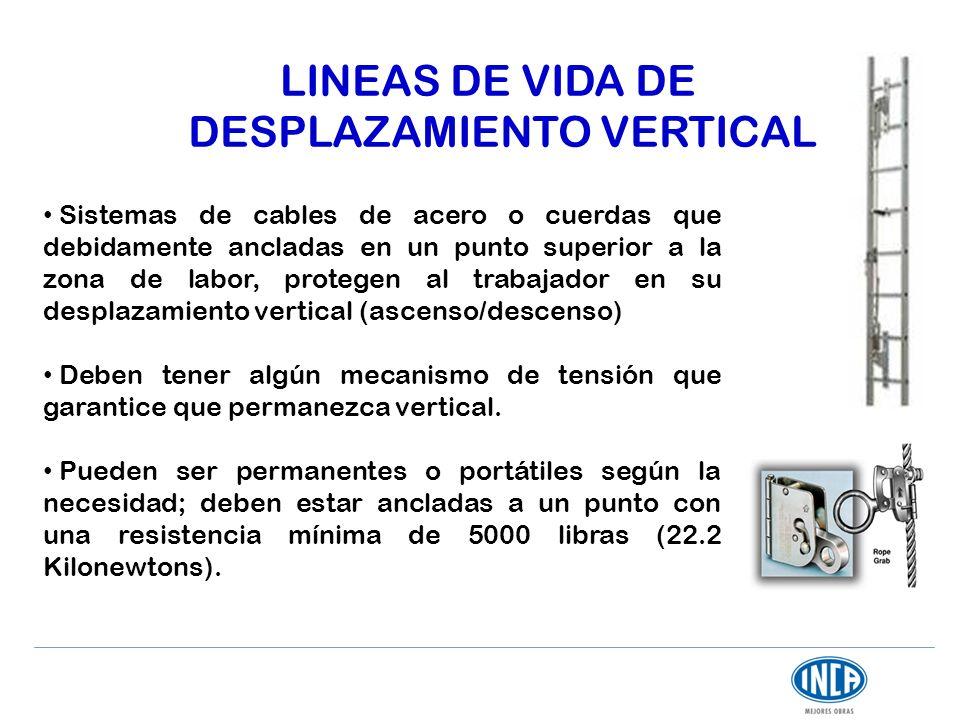 LINEAS DE VIDA DE DESPLAZAMIENTO VERTICAL Sistemas de cables de acero o cuerdas que debidamente ancladas en un punto superior a la zona de labor, prot