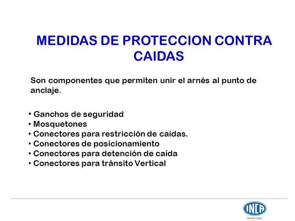MEDIDAS DE PROTECCION CONTRA CAIDAS Son componentes que permiten unir el arnés al punto de anclaje. Ganchos de seguridad Mosquetones Conectores para r