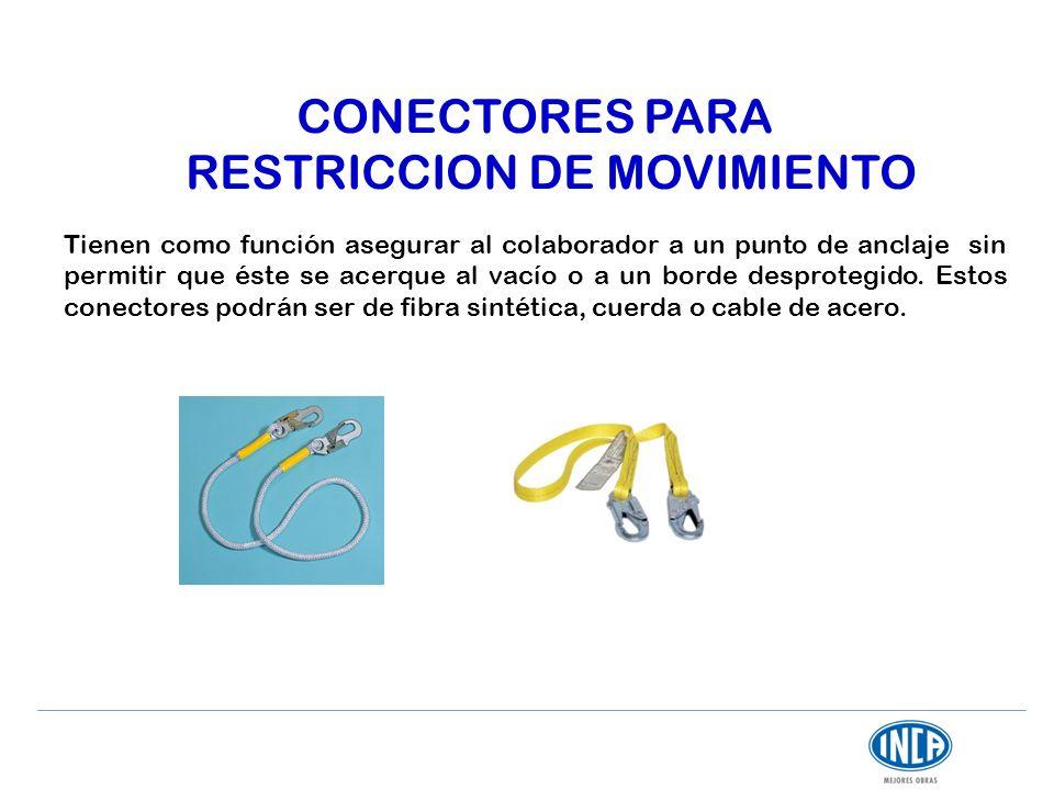 CONECTORES PARA RESTRICCION DE MOVIMIENTO Tienen como función asegurar al colaborador a un punto de anclaje sin permitir que éste se acerque al vacío