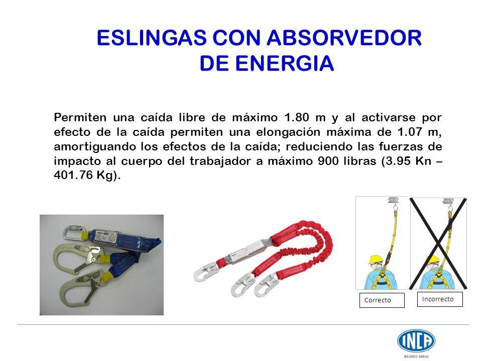 ESLINGAS CON ABSORVEDOR DE ENERGIA Permiten una caída libre de máximo 1.80 m y al activarse por efecto de la caída permiten una elongación máxima de 1