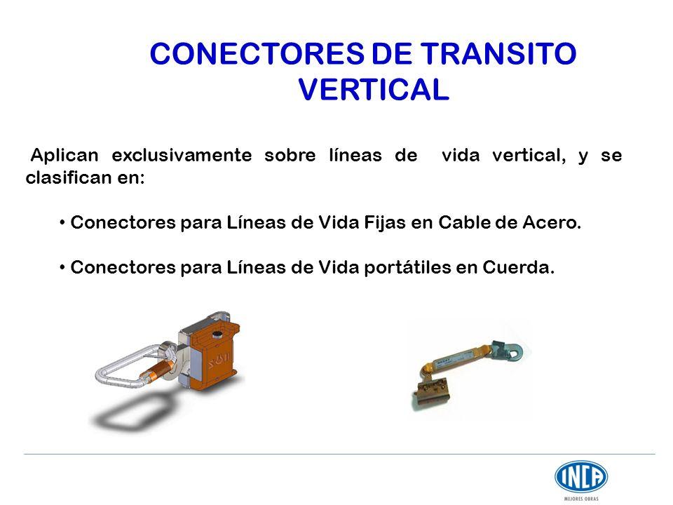 CONECTORES DE TRANSITO VERTICAL Aplican exclusivamente sobre líneas de vida vertical, y se clasifican en: Conectores para Líneas de Vida Fijas en Cabl
