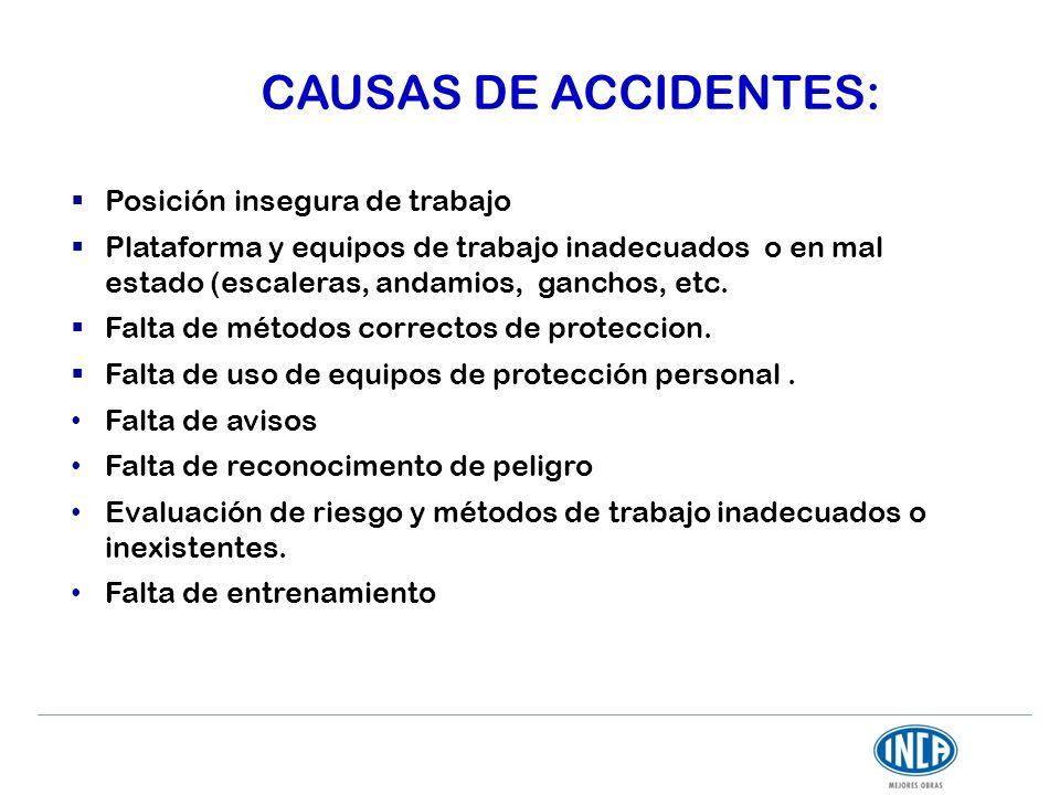 CAUSAS DE ACCIDENTES: Posición insegura de trabajo Plataforma y equipos de trabajo inadecuados o en mal estado (escaleras, andamios, ganchos, etc. Fal