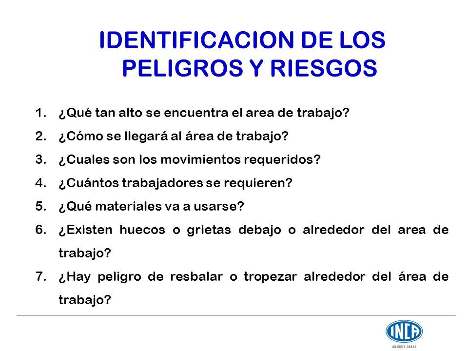 IDENTIFICACION DE LOS PELIGROS Y RIESGOS 1.¿Qué tan alto se encuentra el area de trabajo? 2.¿Cómo se llegará al área de trabajo? 3.¿Cuales son los mov