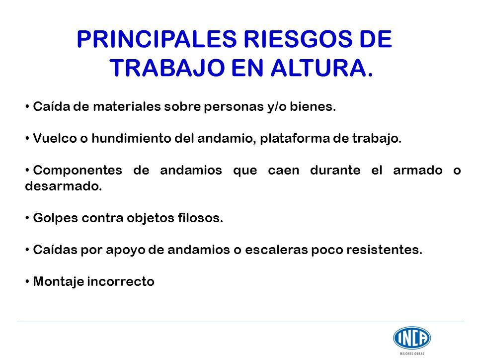PRINCIPALES RIESGOS DE TRABAJO EN ALTURA. Caída de materiales sobre personas y/o bienes. Vuelco o hundimiento del andamio, plataforma de trabajo. Comp