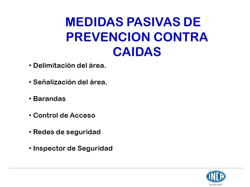 MEDIDAS PASIVAS DE PREVENCION CONTRA CAIDAS Delimitación del área. Señalización del área. Barandas Control de Acceso Redes de seguridad Inspector de S