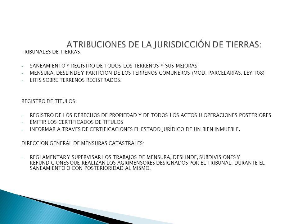 TRIBUNALES DE TIERRAS: - SANEAMIENTO Y REGISTRO DE TODOS LOS TERRENOS Y SUS MEJORAS - MENSURA, DESLINDE Y PARTICION DE LOS TERRENOS COMUNEROS (MOD. PA