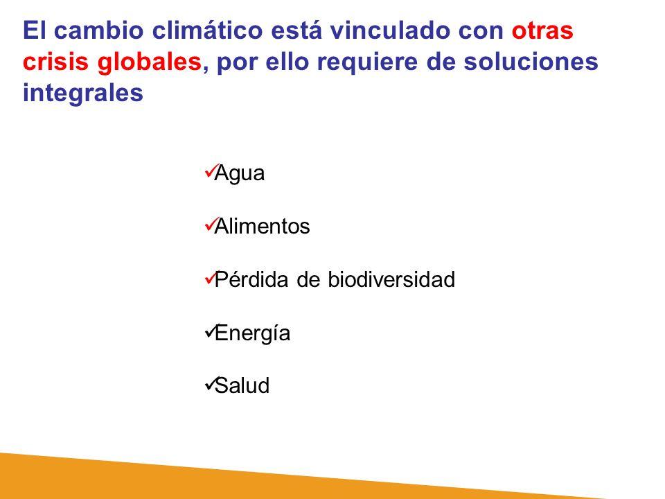 El cambio climático está vinculado con otras crisis globales, por ello requiere de soluciones integrales Agua Alimentos Pérdida de biodiversidad Energ