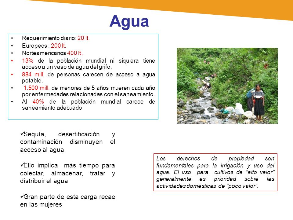 Agua Requerimiento diario: 20 lt. Europeos : 200 lt. Norteamericanos 400 lt. 13% de la población mundial ni siquiera tiene acceso a un vaso de agua de