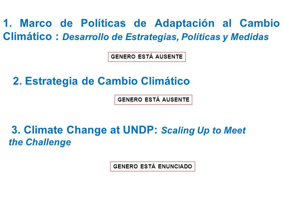 1. Marco de Políticas de Adaptación al Cambio Climático : Desarrollo de Estrategias, Políticas y Medidas GENERO ESTÁ AUSENTE 2. Estrategia de Cambio C