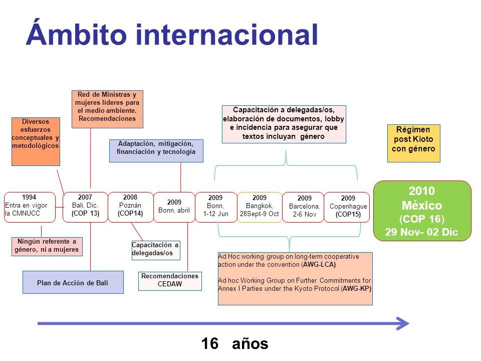 Ámbito internacional 1994 Entra en vigor la CMNUCC 2009 Bangkok, 28Sept-9 Oct 2008 Poznán (COP14) 2009 Bonn, 1-12 Jun Régimen post Kioto con género Ca