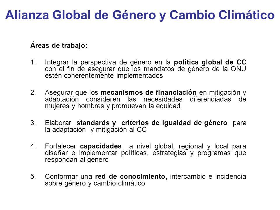Alianza Global de Género y Cambio Climático Áreas de trabajo: 1.Integrar la perspectiva de género en la política global de CC con el fin de asegurar q