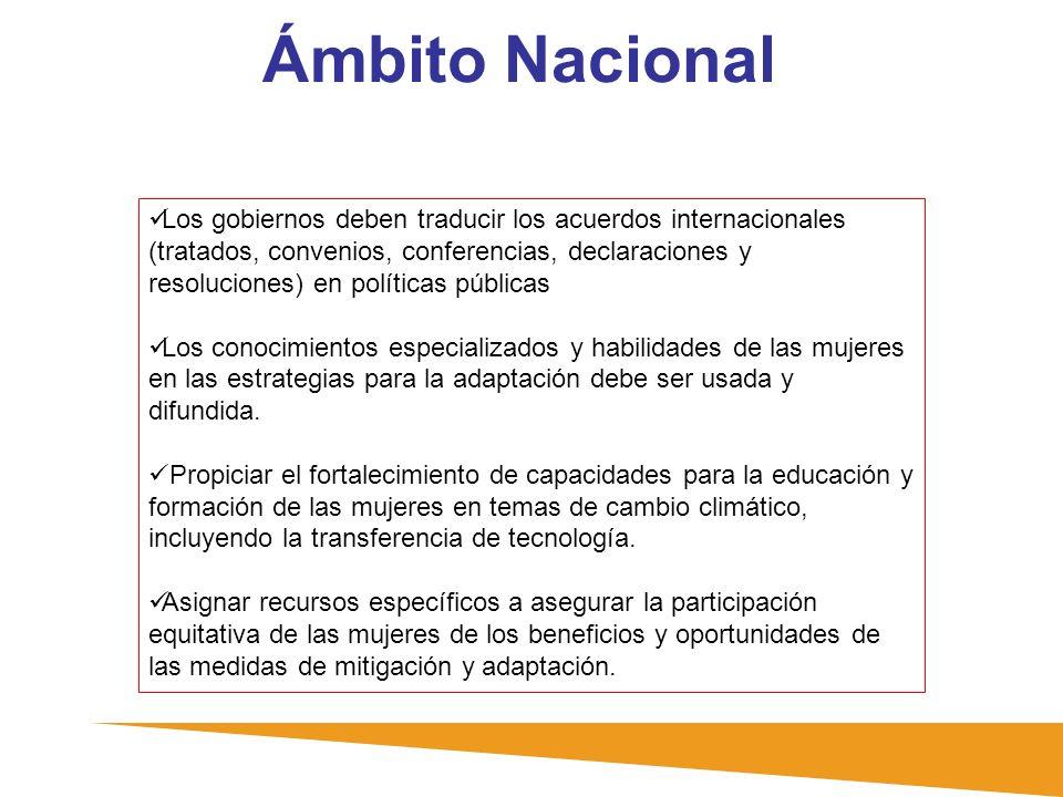 Ámbito Nacional Los gobiernos deben traducir los acuerdos internacionales (tratados, convenios, conferencias, declaraciones y resoluciones) en polític