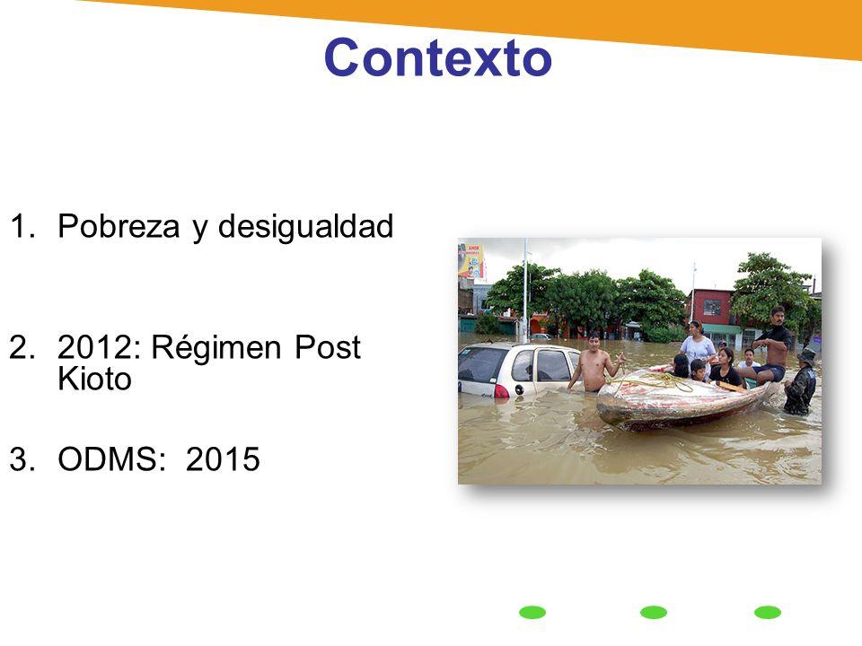 Contexto 1.Pobreza y desigualdad 2.2012: Régimen Post Kioto 3.ODMS: 2015