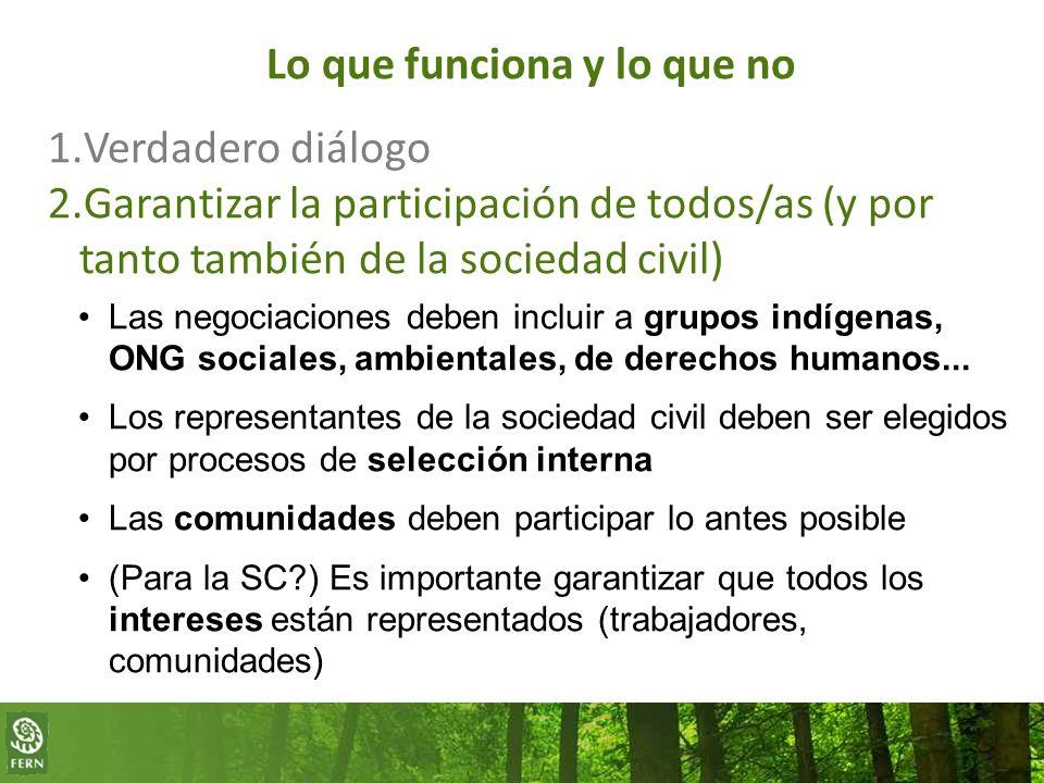 Lo que funciona y lo que no 1.Verdadero diálogo 2.Garantizar la participación de todos/as (y por tanto también de la sociedad civil) Las negociaciones deben incluir a grupos indígenas, ONG sociales, ambientales, de derechos humanos...