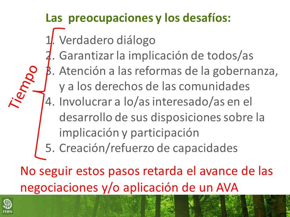 Las preocupaciones y los desafíos: 1.Verdadero diálogo 2.Garantizar la implicación de todos/as 3.Atención a las reformas de la gobernanza, y a los derechos de las comunidades 4.Involucrar a lo/as interesado/as en el desarrollo de sus disposiciones sobre la implicación y participación 5.Creación/refuerzo de capacidades Tiempo No seguir estos pasos retarda el avance de las negociaciones y/o aplicación de un AVA